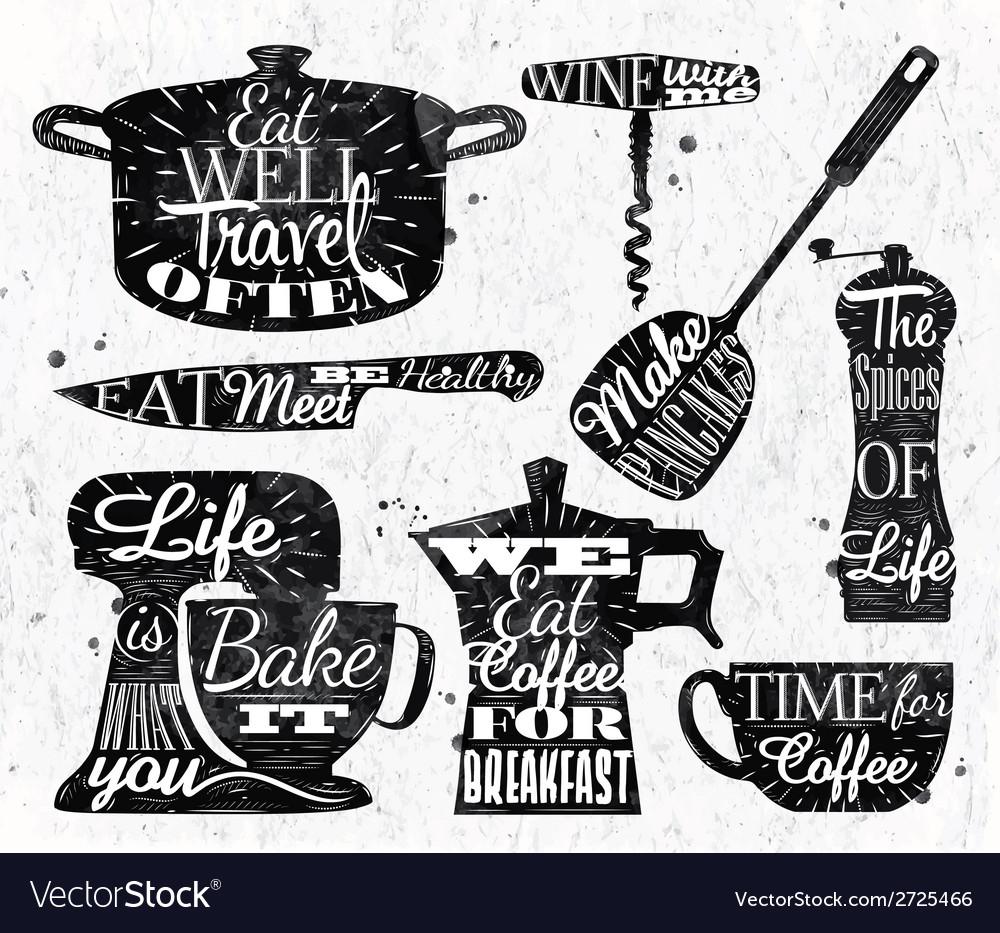 Kitchen symbol vintage lettering restaurant vector
