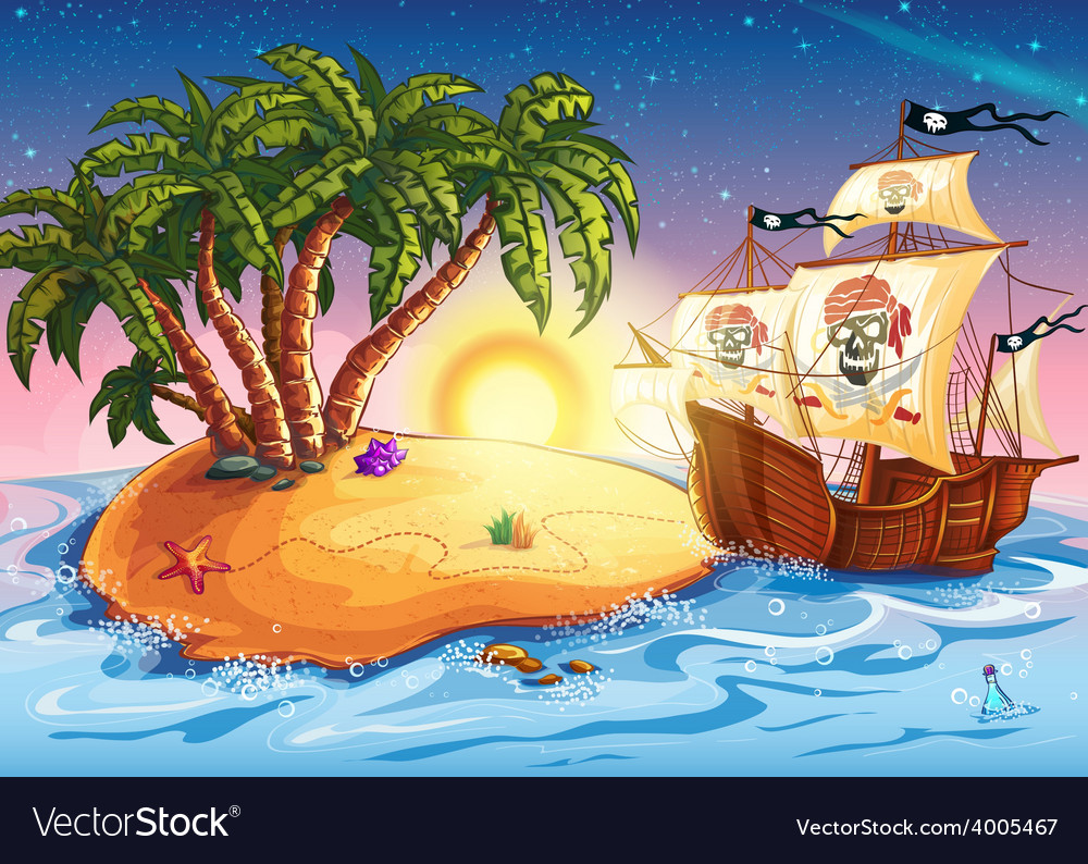 The island with a pirate ship vector