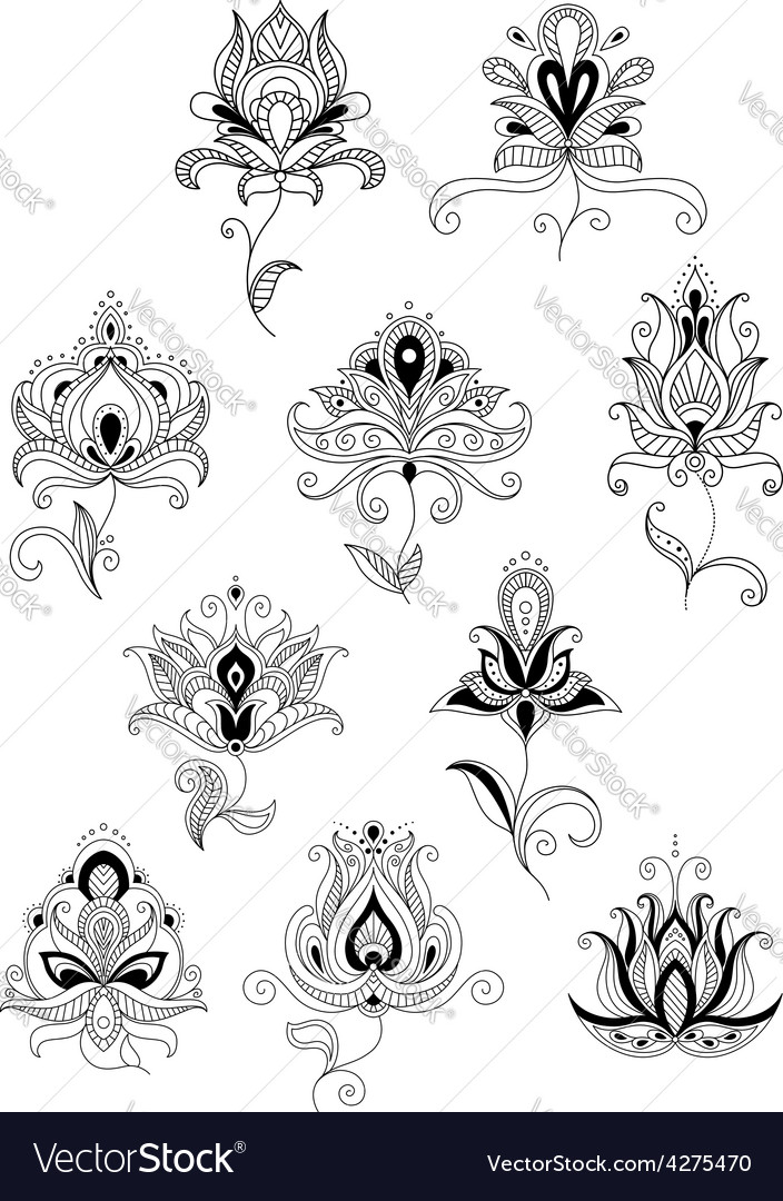 Ethnic paisley outline floral design elements vector