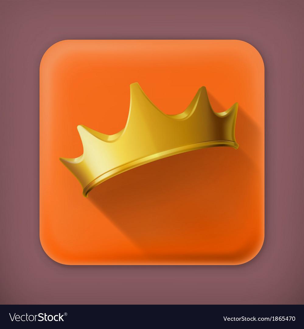 Golden crown flat icon vector