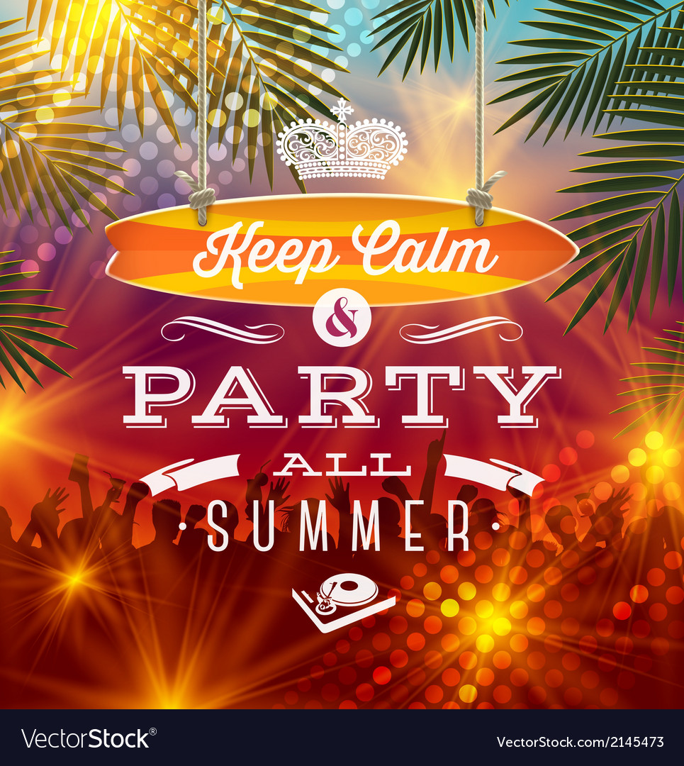 Summer-holidays-party-greeting---type-design-vector