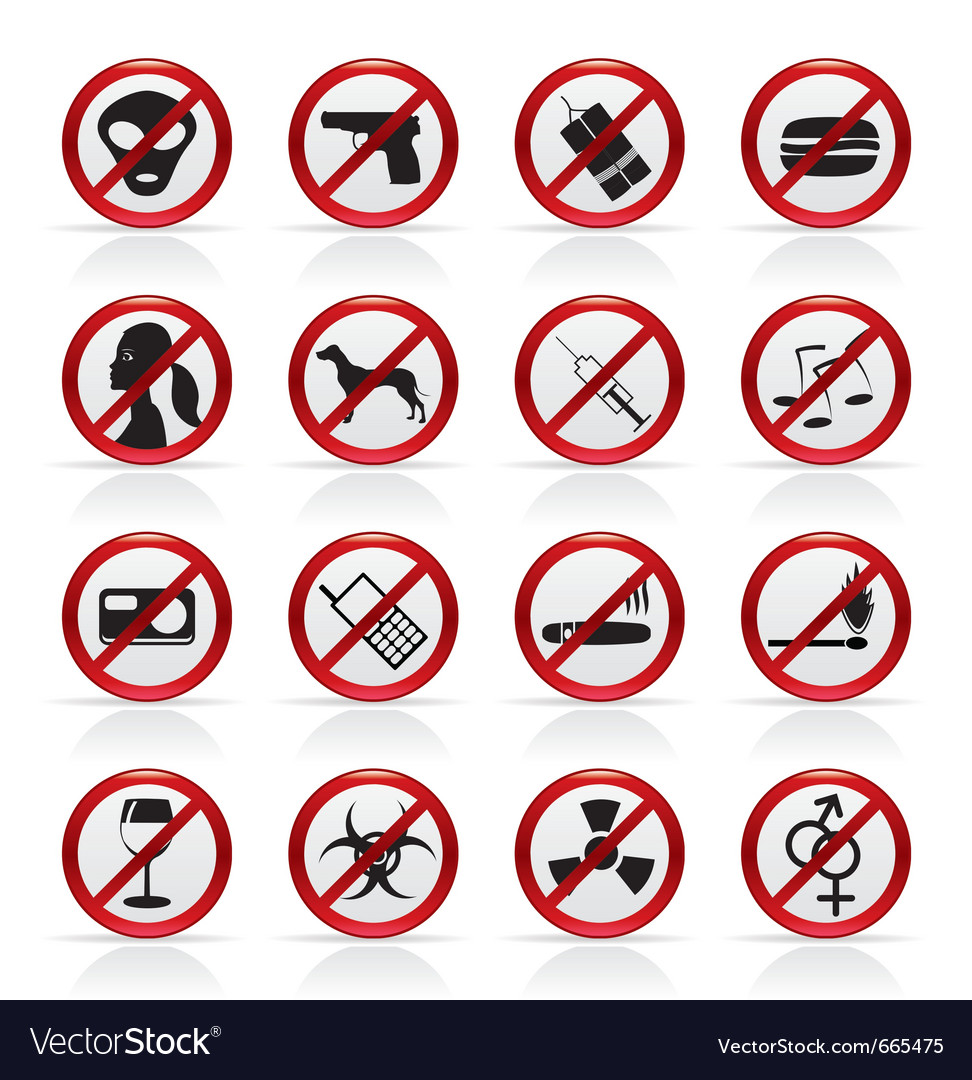 Prohibition sign and icons vector