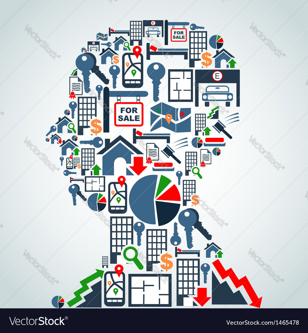 Property market business man head vector
