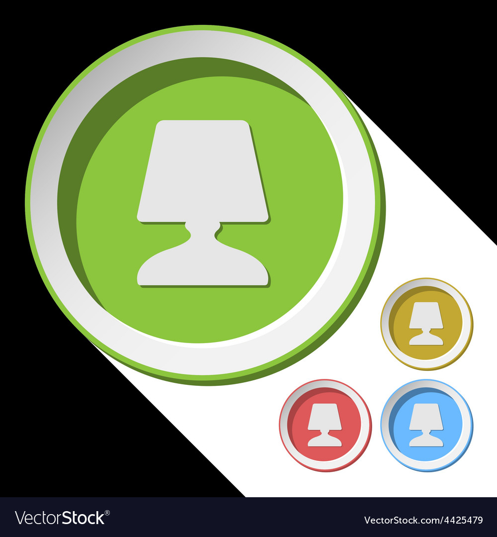 Color icons with bedside table lamp vector