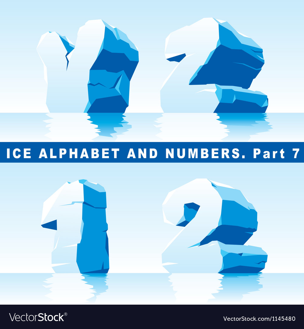 Ice alpfabet part 7 and numbers part 1 vector