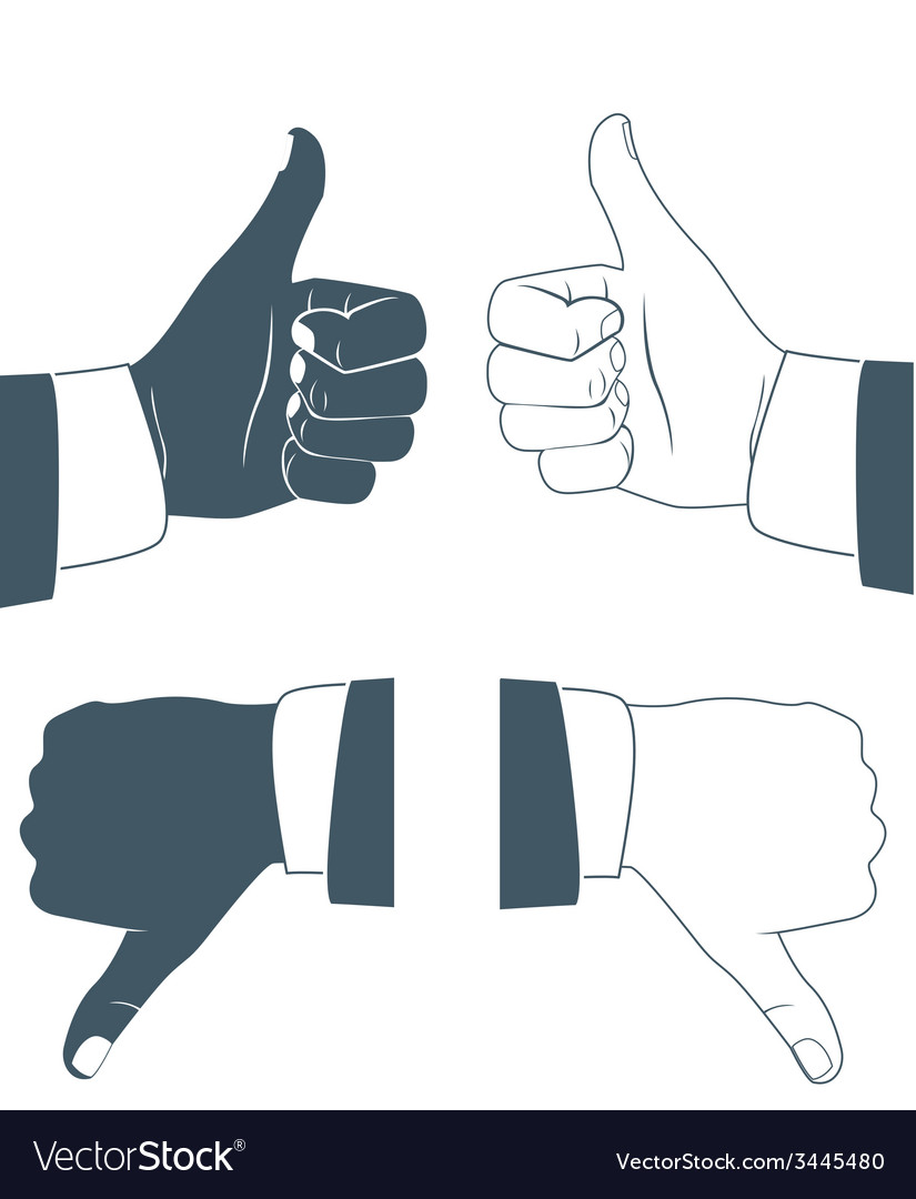 Thumbs up and down drawn by hands icons flat style vector