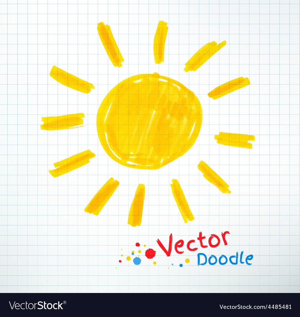 Childlike drawing of sun vector