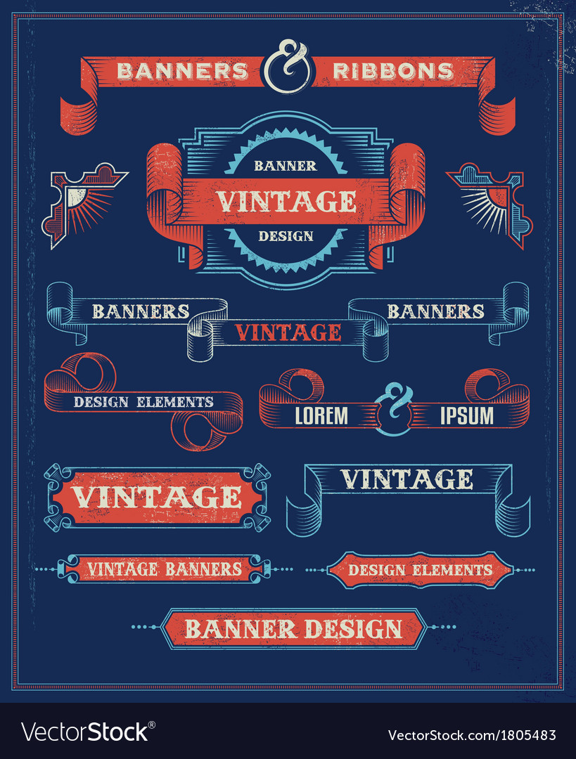 Vintage banners and ribbon design elements vector