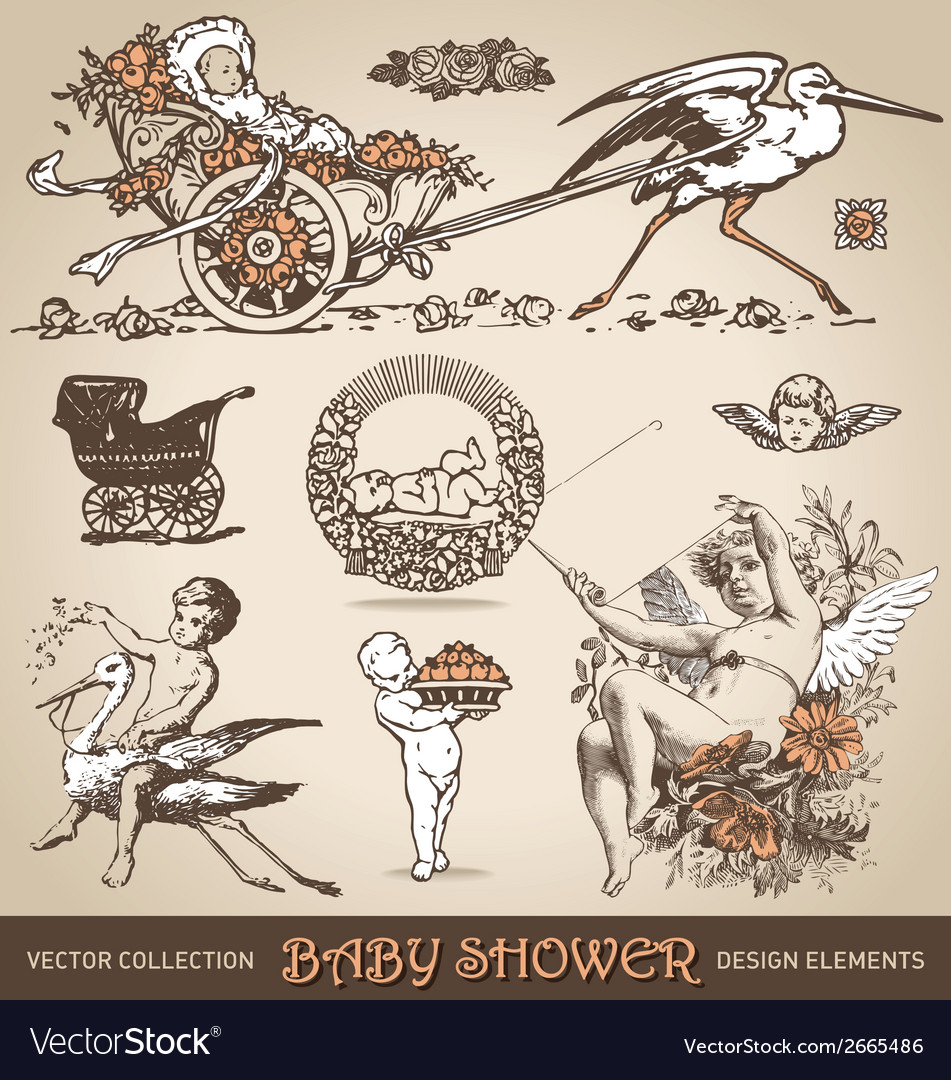 Baby shower antique design elements set vector