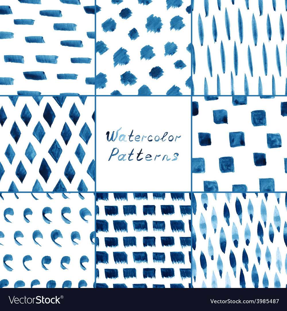 Set of watercolor simple patterns vector