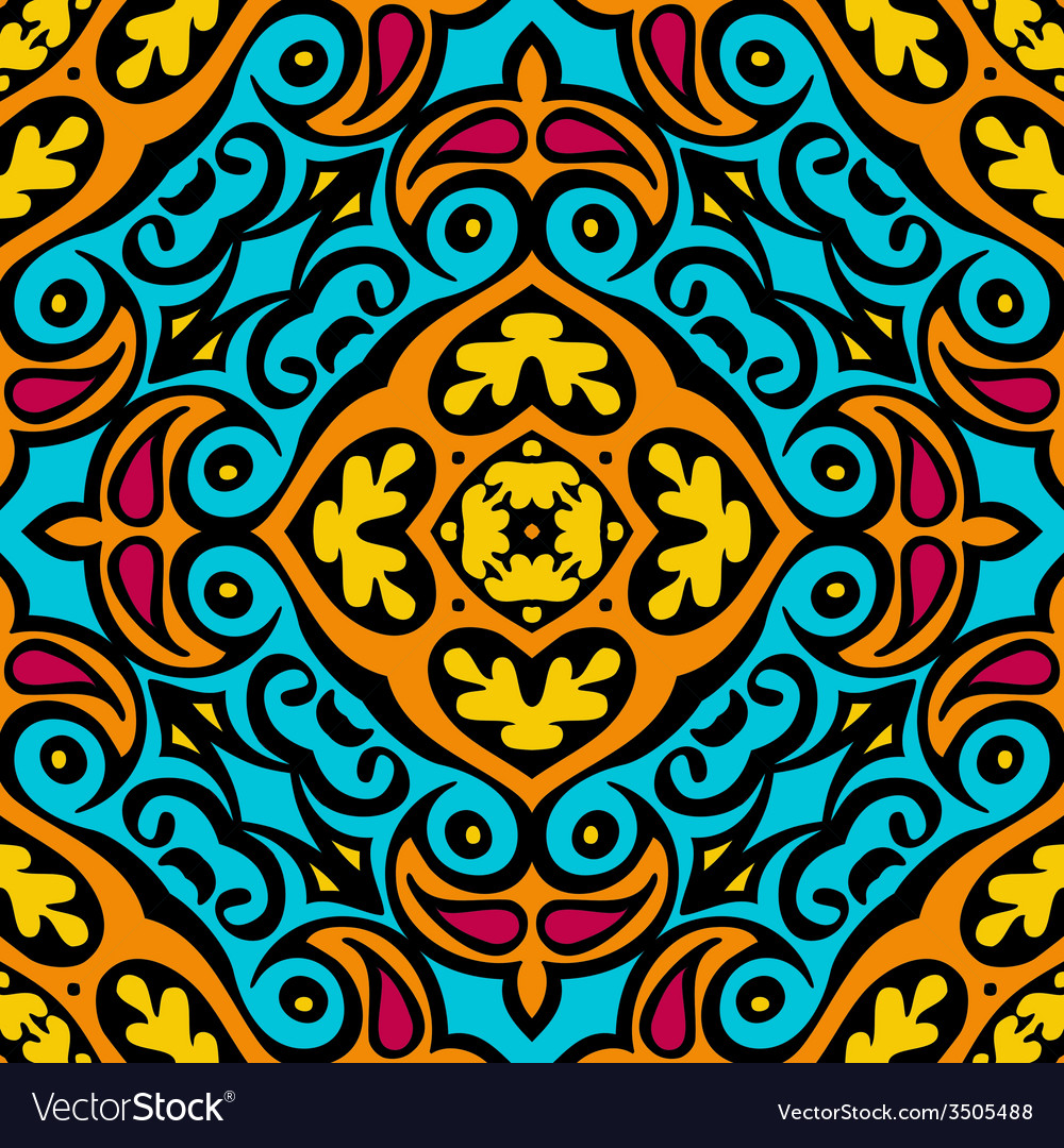 Abstract seamless ethnic tiled design vector