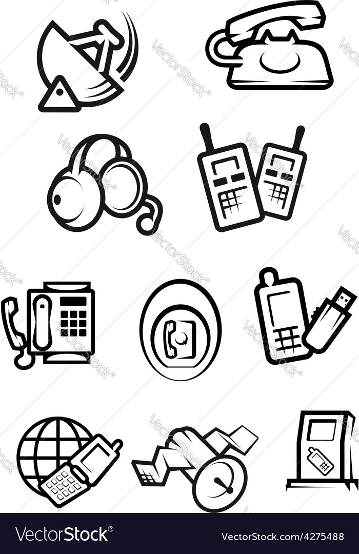 Communication technology for home and office icons vector