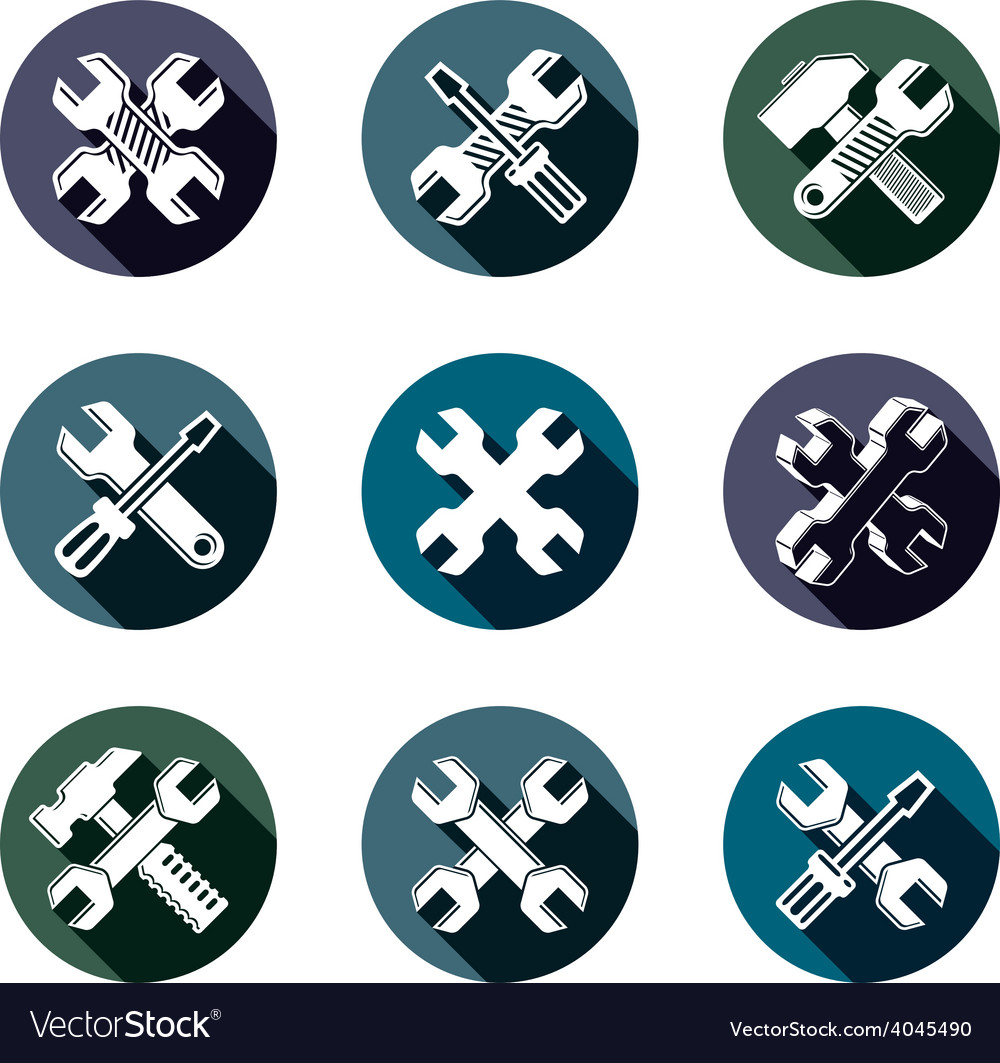 Repair instruments collection 3d tools wrenches vector