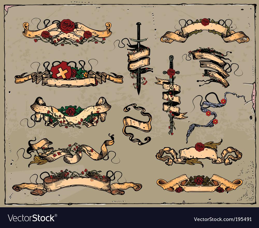 Medieval ribbons vector