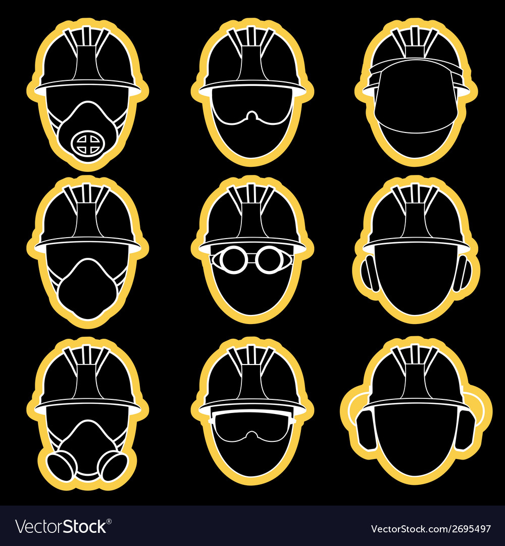 Worker protective wear element sign set vector