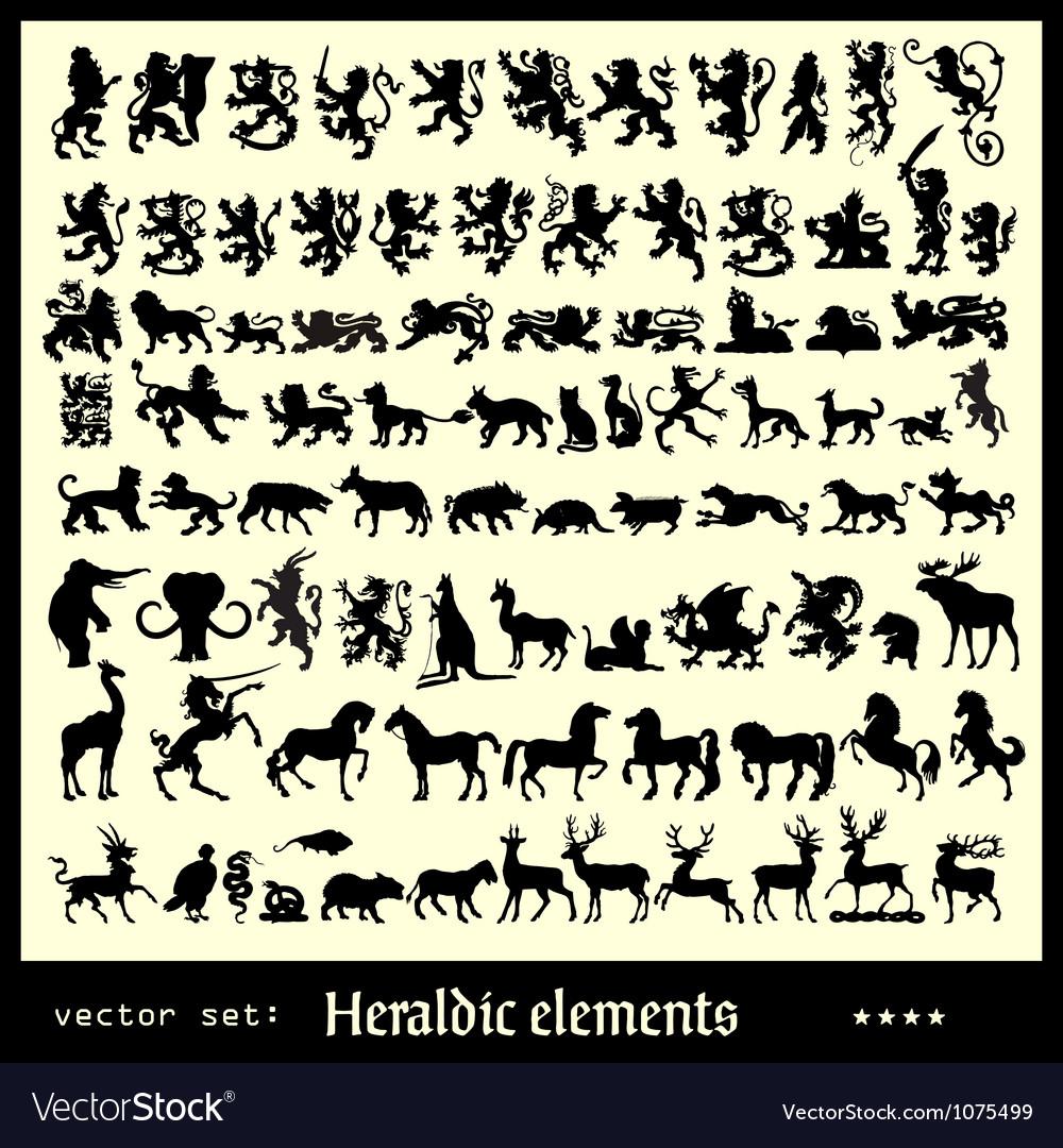 Heraldic elements beasts vector