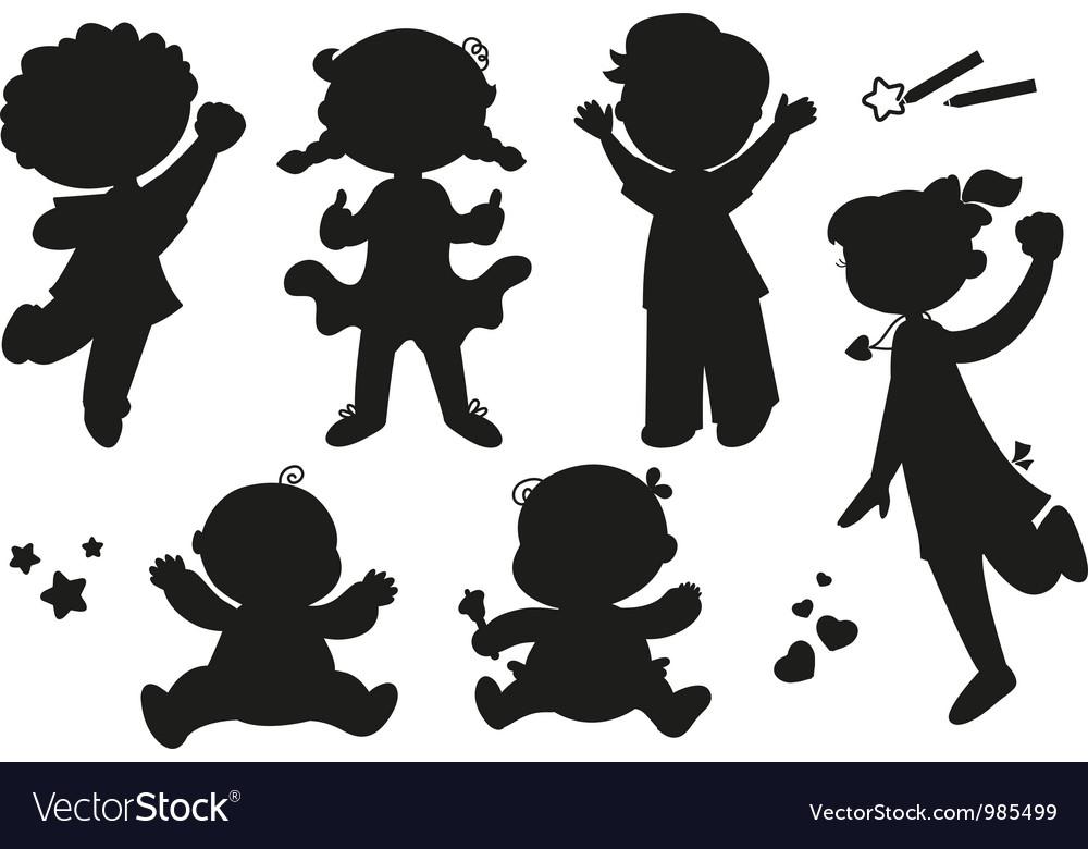 Six silhouettes of happy children vector