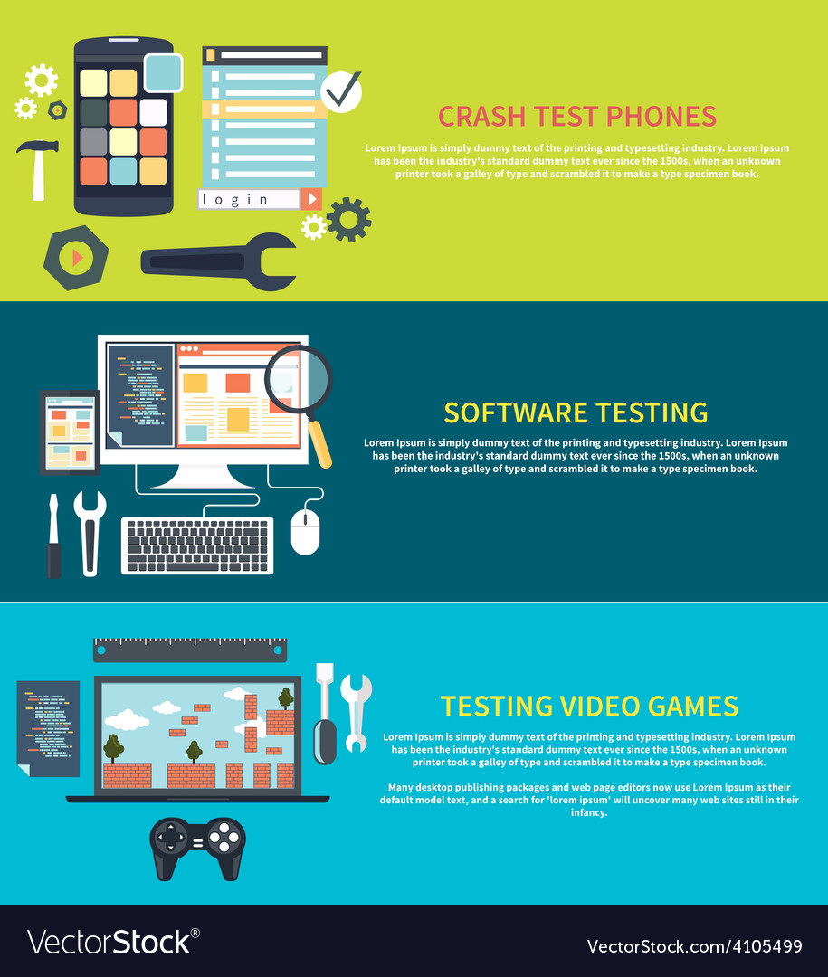 Software games phones crash testing vector