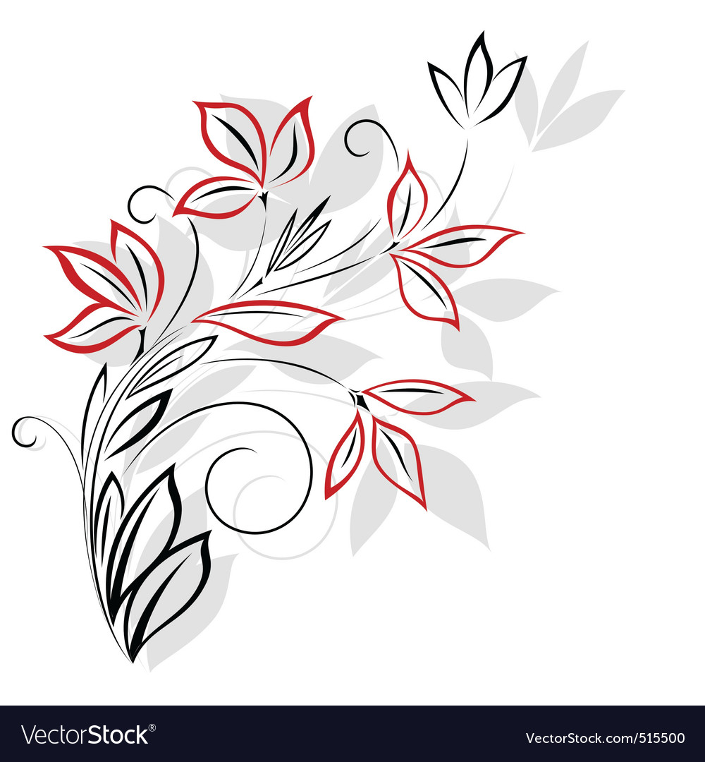 Black and red floral pattern vector
