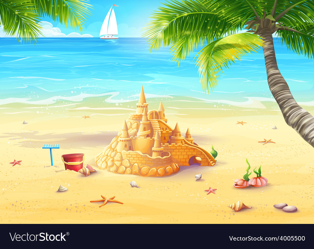 The sea shore with palm trees vector