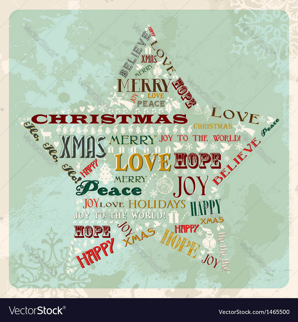 Vintage merry christmas concept star vector