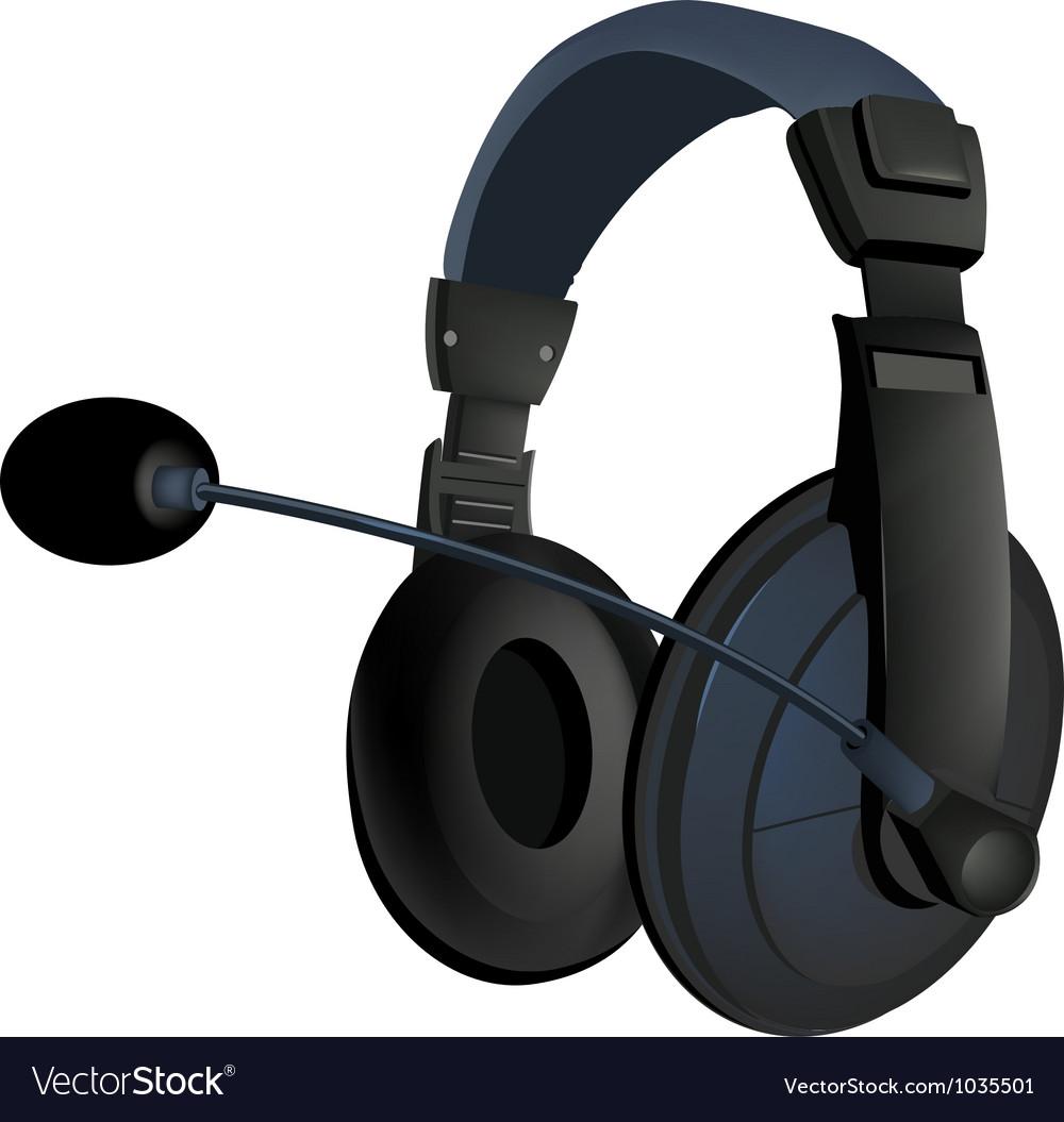 Black headphone vector