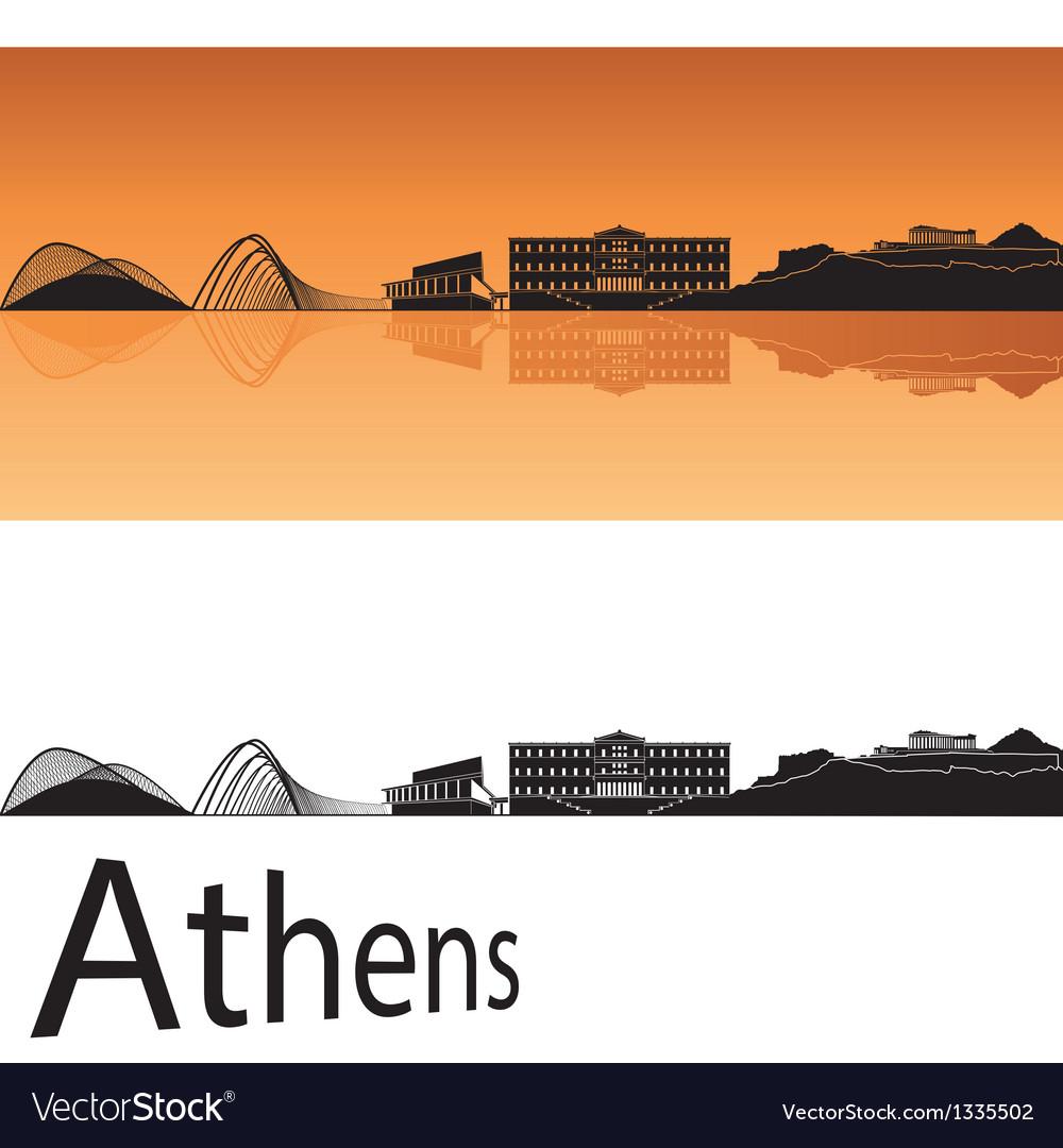 Athens skyline in orange background vector
