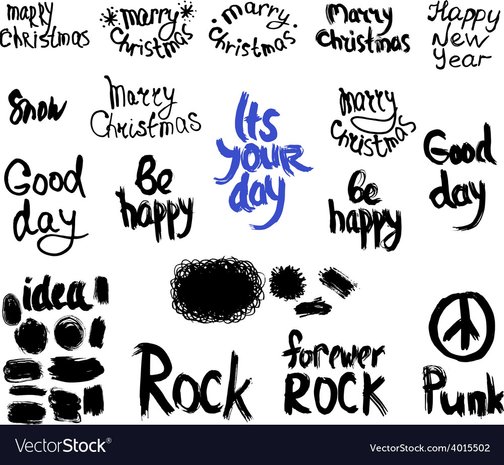 Set of words and labels freehand drawing grunge vector