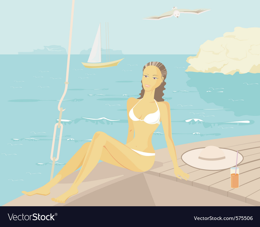 Relaxing on a yacht vector
