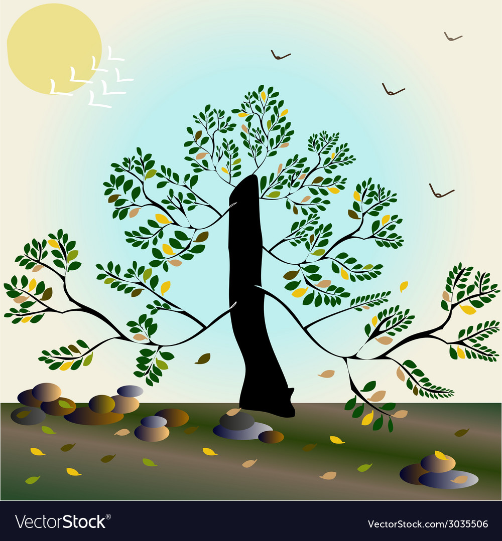 Stylish autumn composition with tree vector