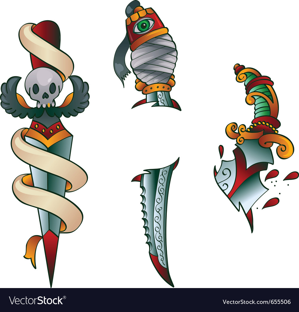 Tattoo daggers vector