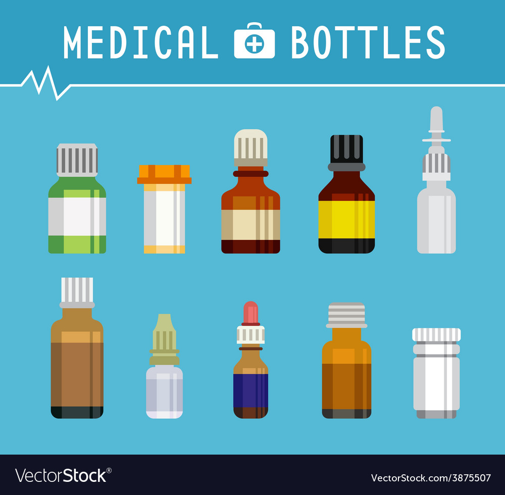 Cool various medication bottles for medical vector