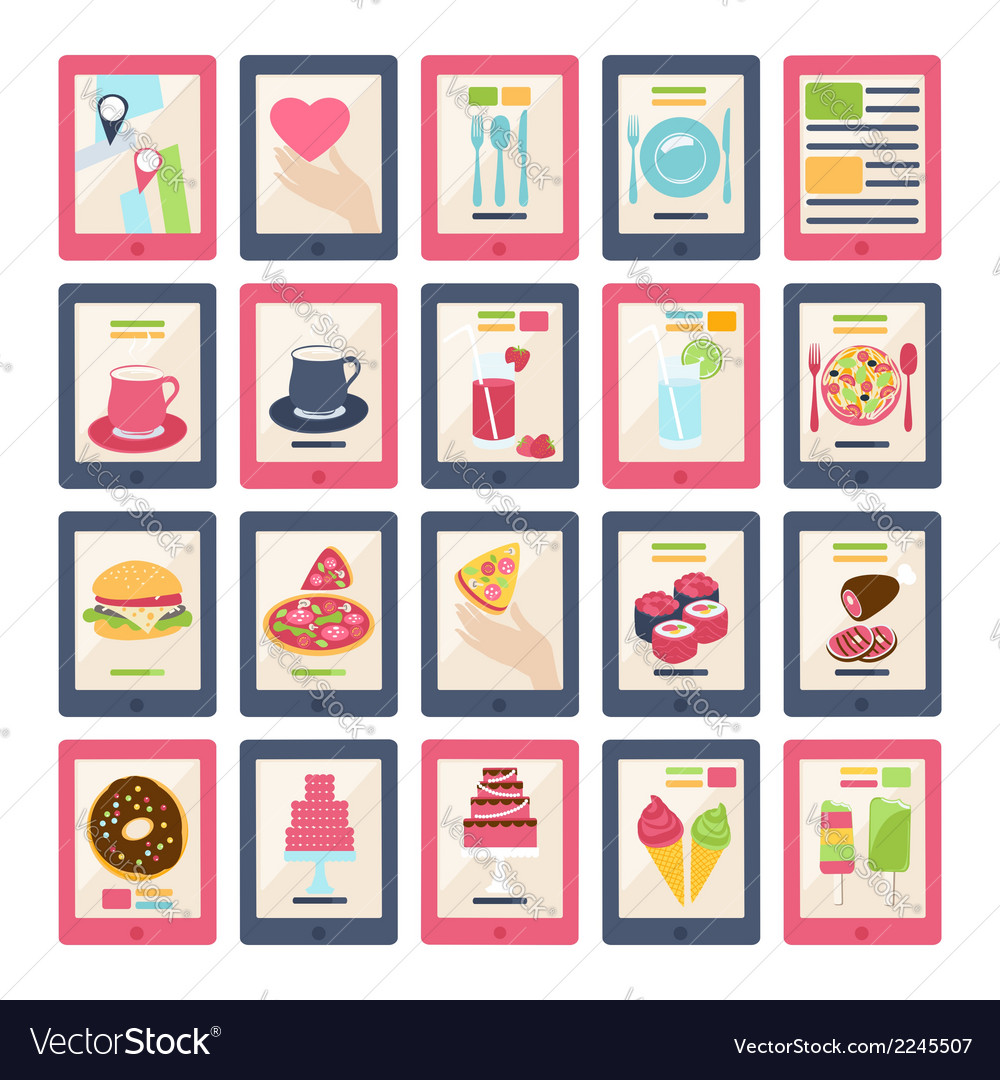Set of 20 food icons vector