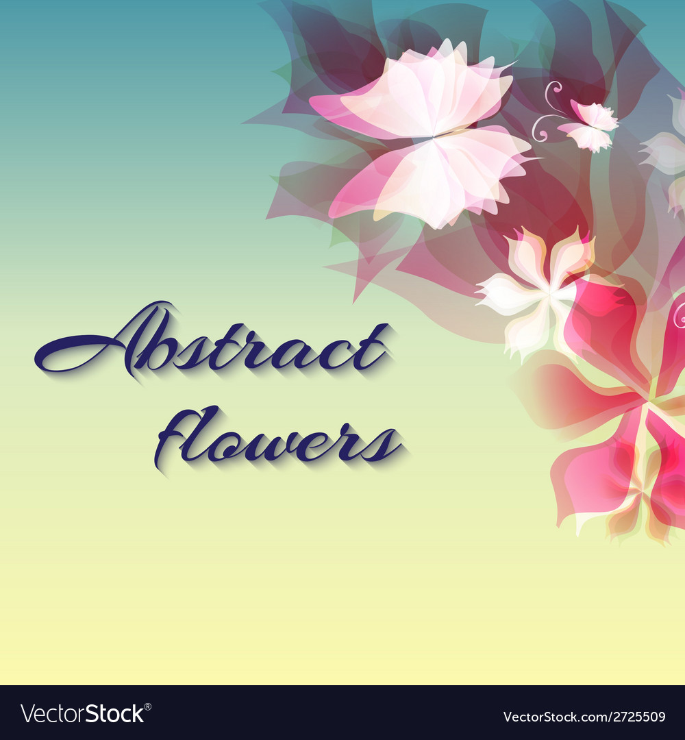 Background with light red abstract flowers vector