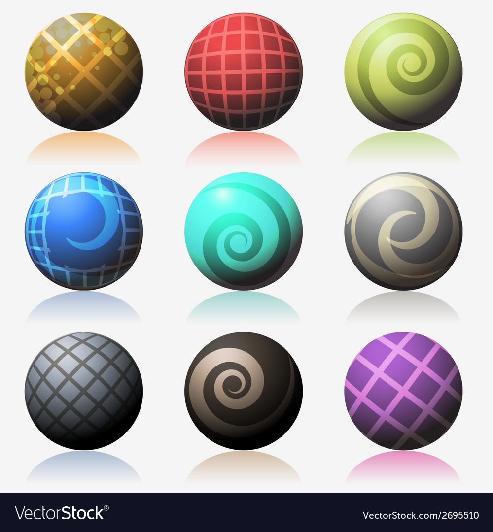 Set of various color glossy sphere isolated on vector
