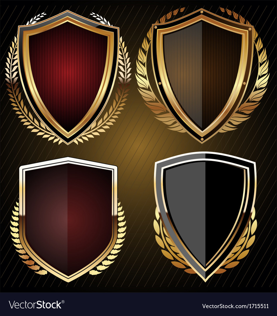 Golden shield set vector