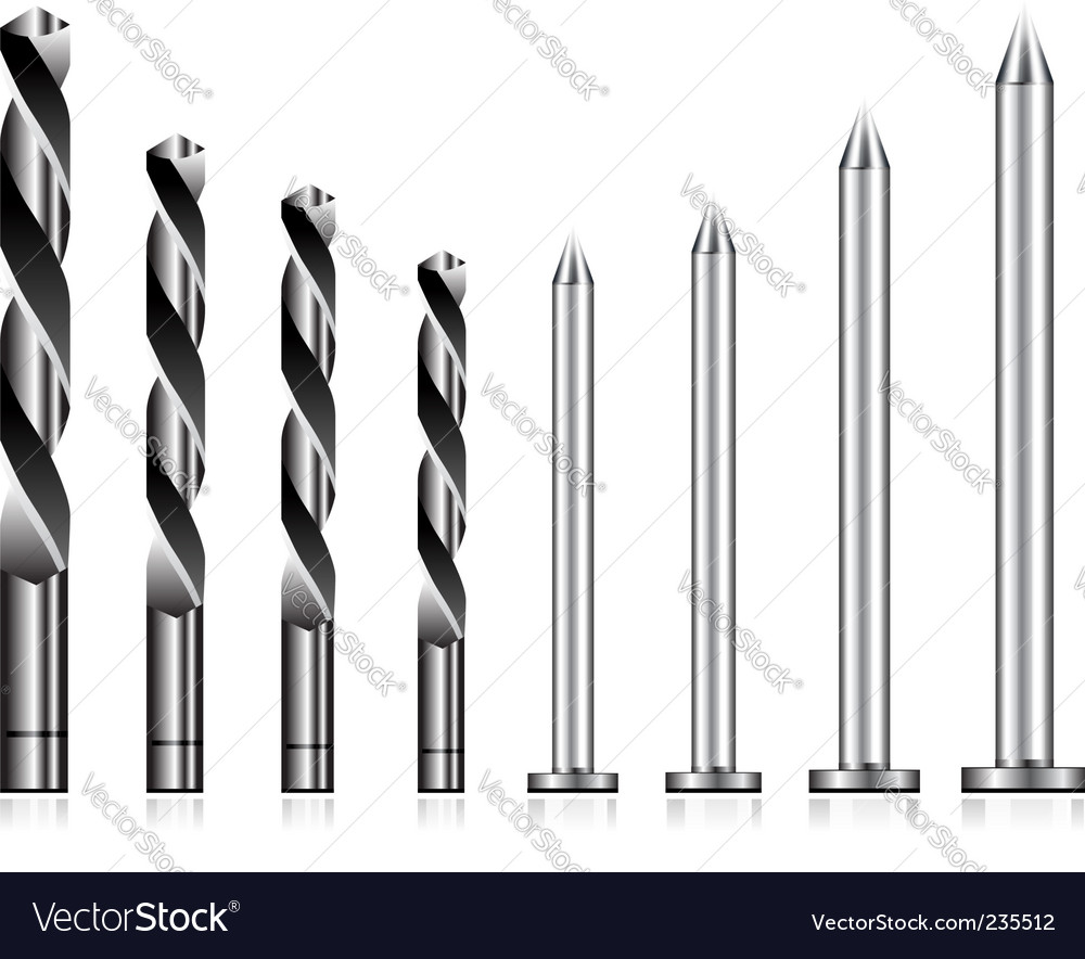 Drill and nail icons vector