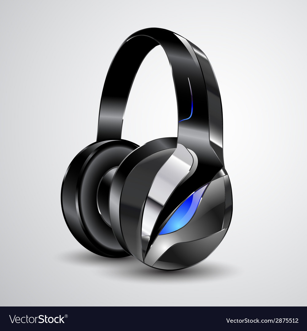 Modern big headphones vector