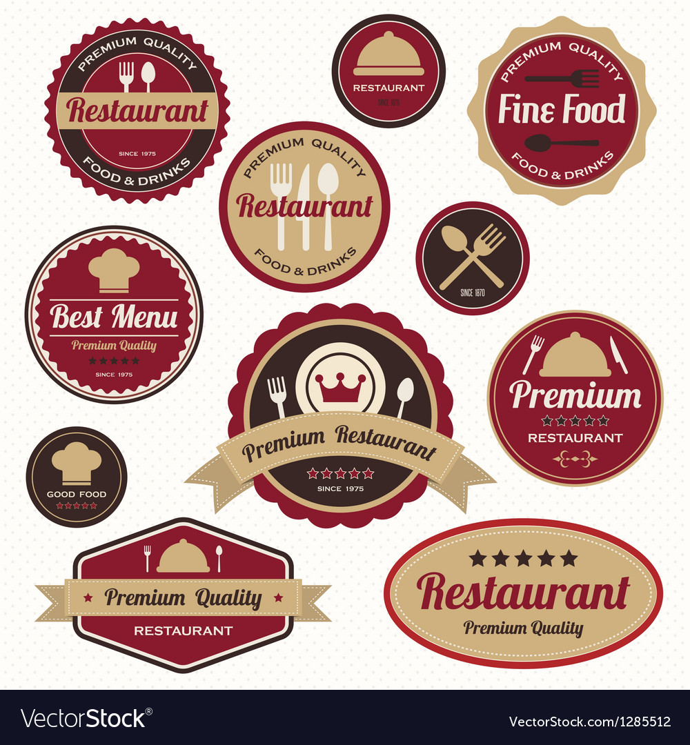 Set of vintage retro restaurant badges and labels vector