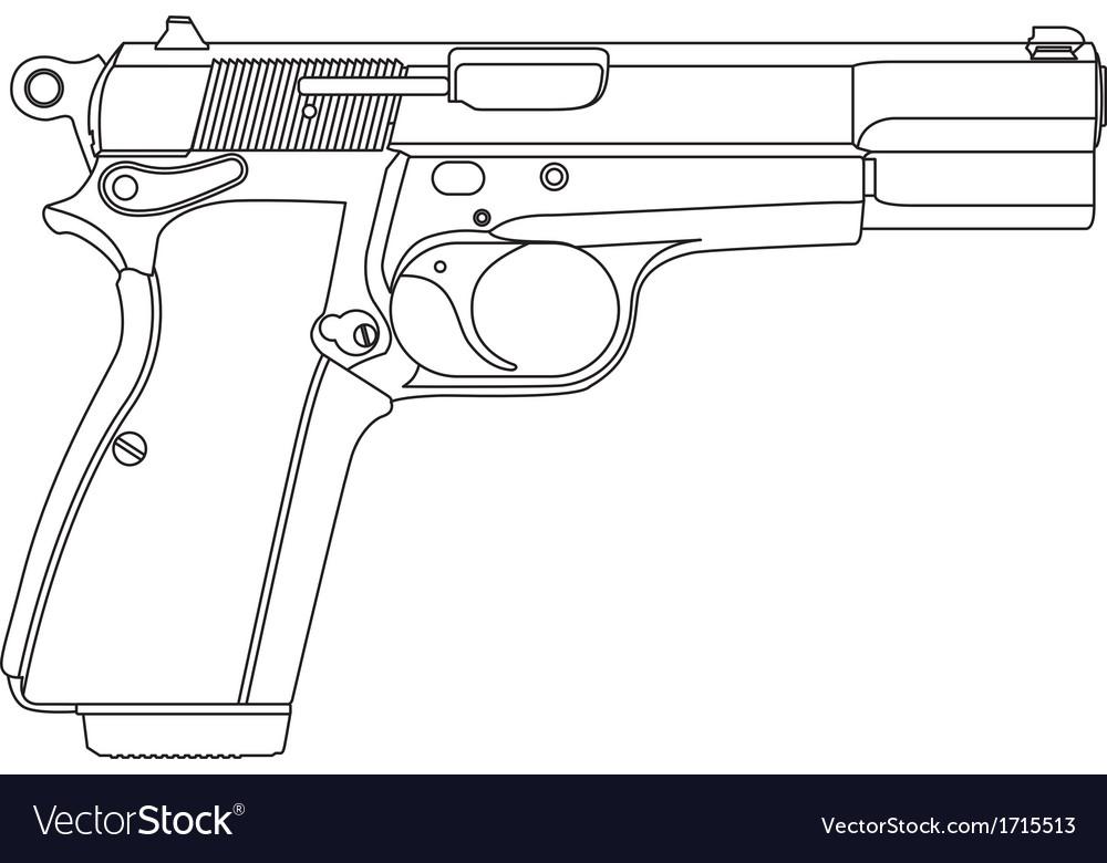 Wireframe gun pistol vector