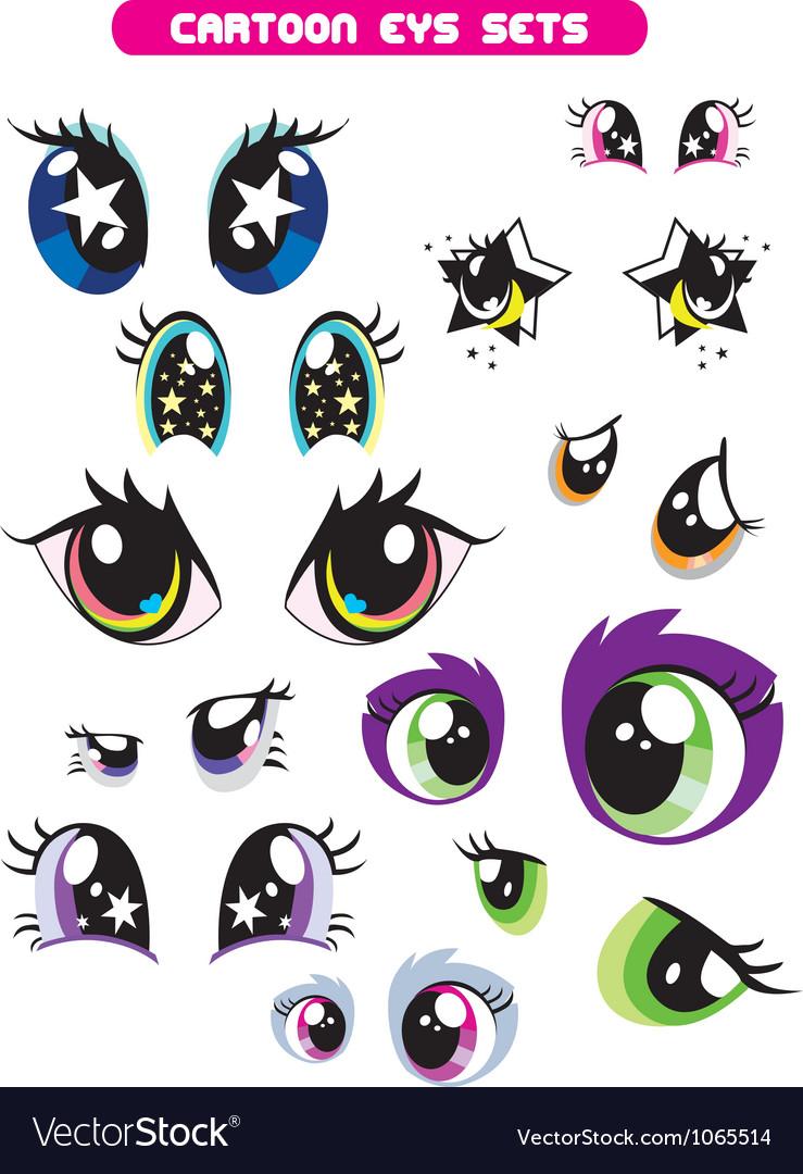 Cartoon eye set vector