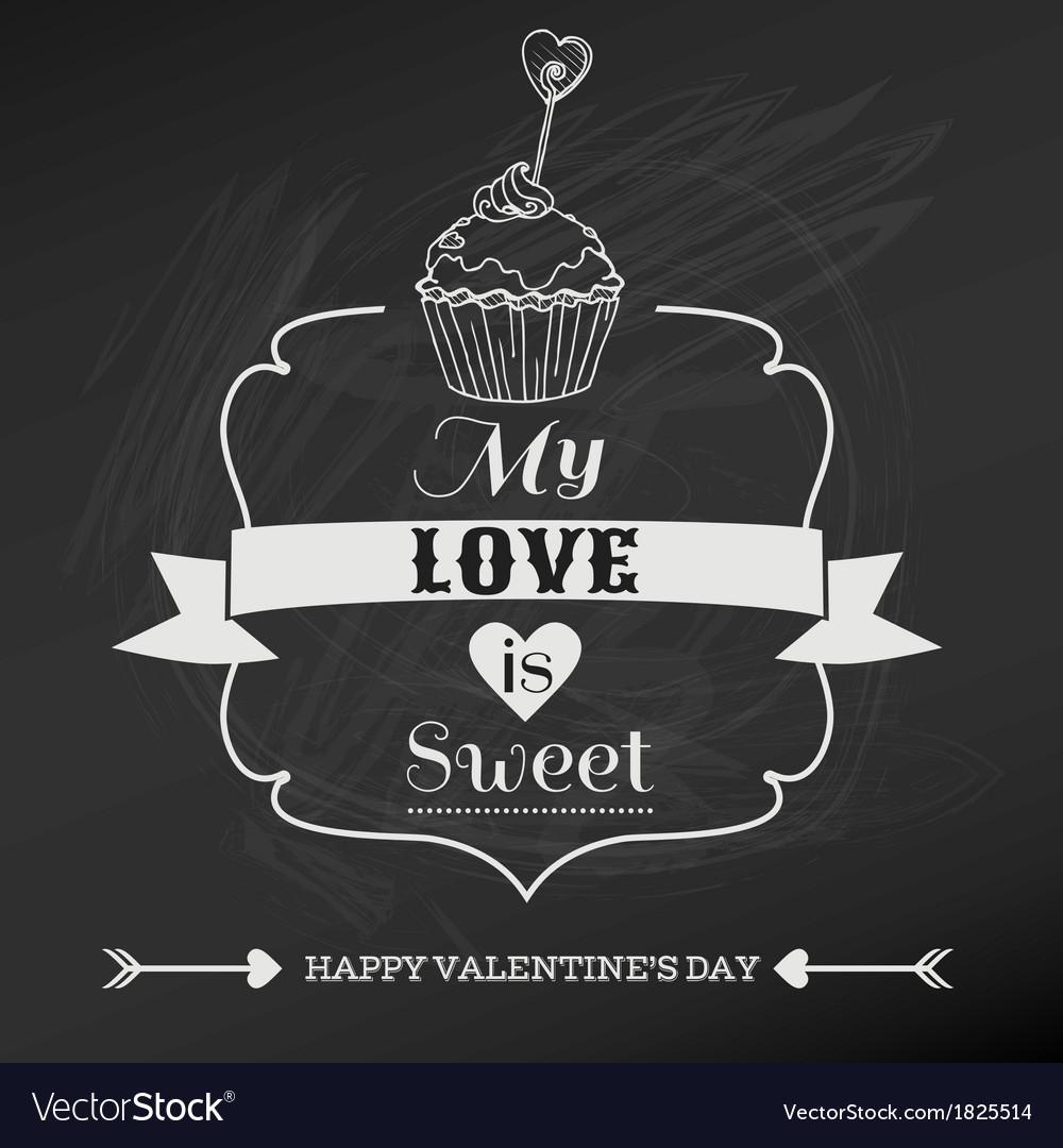 Vintage valentines day card design vector