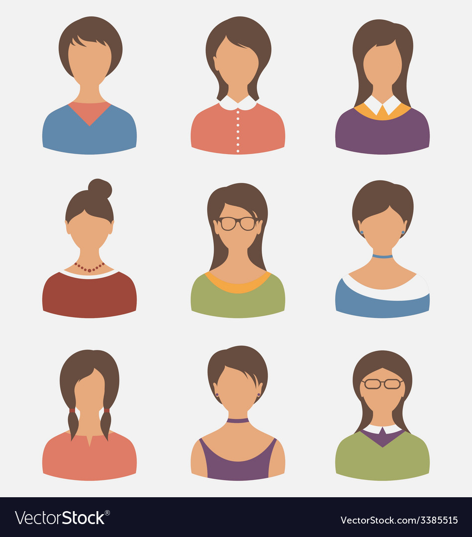 Set female characters isolated on white background vector