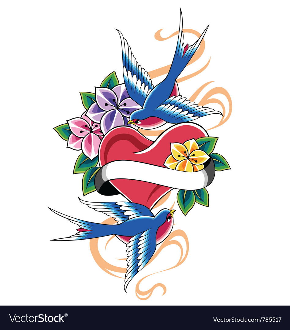 Bird tattoo vector