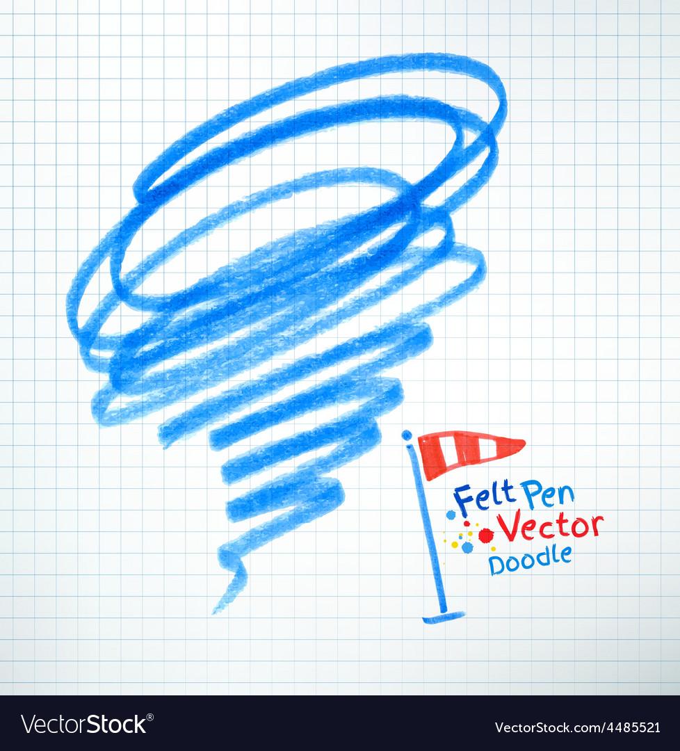 Felt pen childlike drawing of hurricane vector