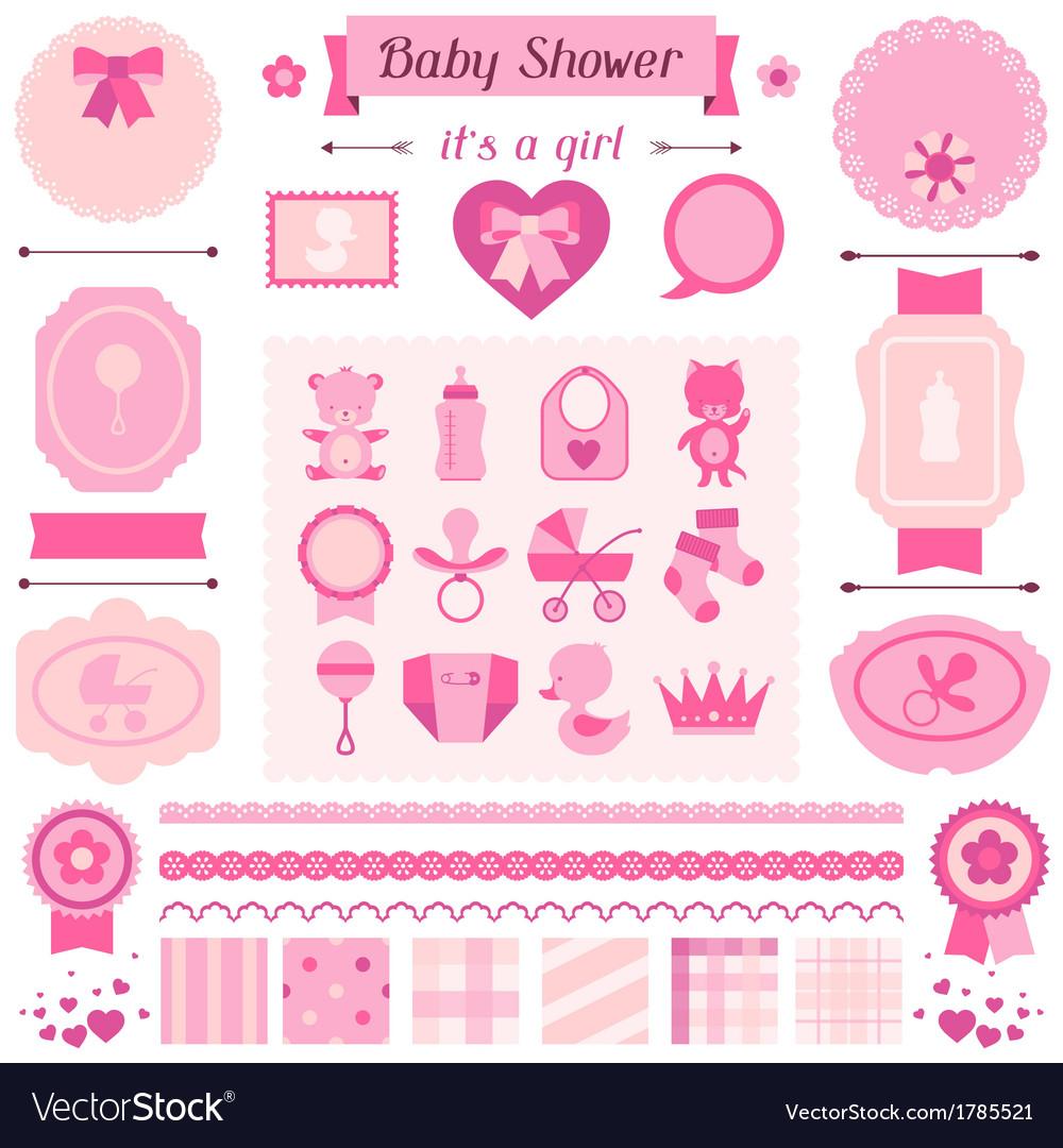 Girl baby shower set of elements for design vector