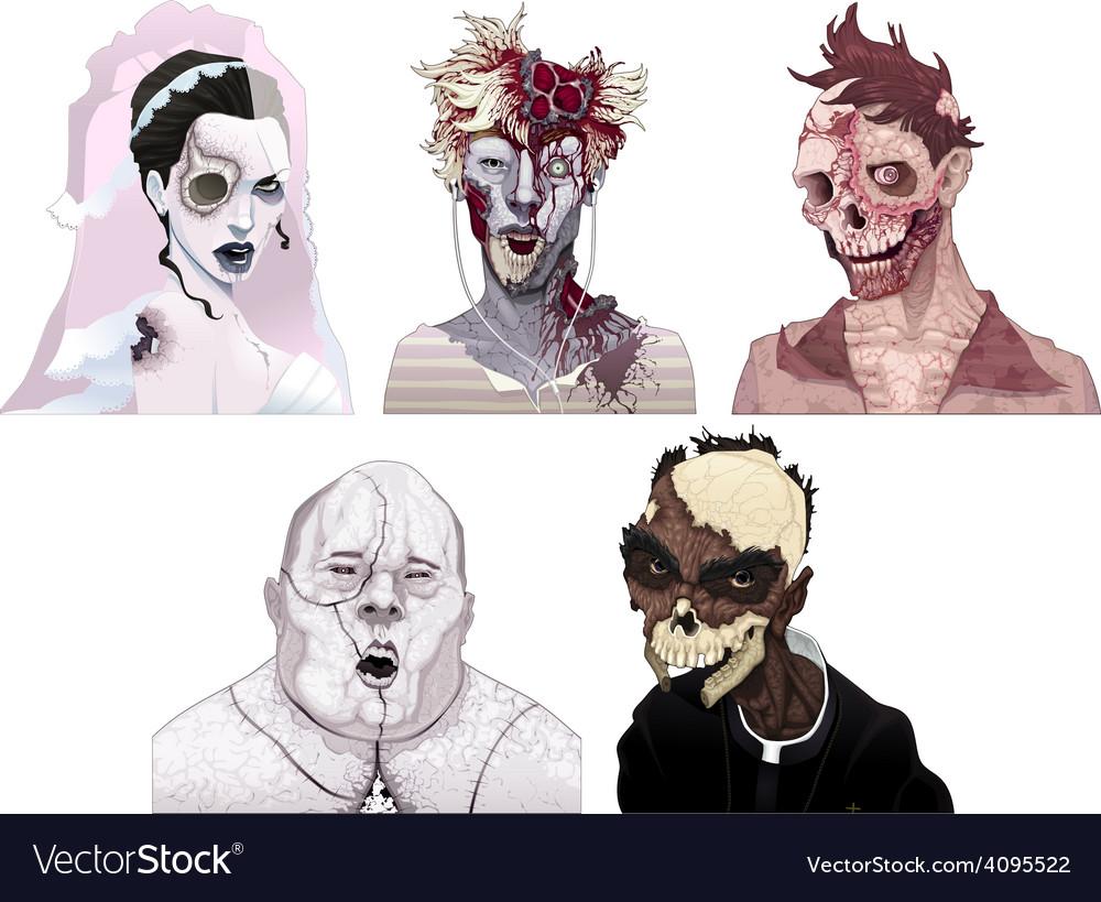 Zombie portraits vector