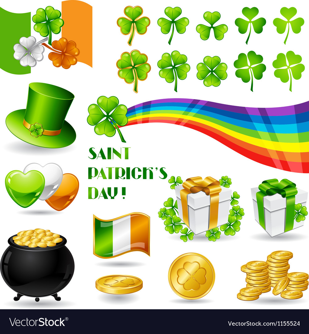 Collection of saint patricks day symbols vector