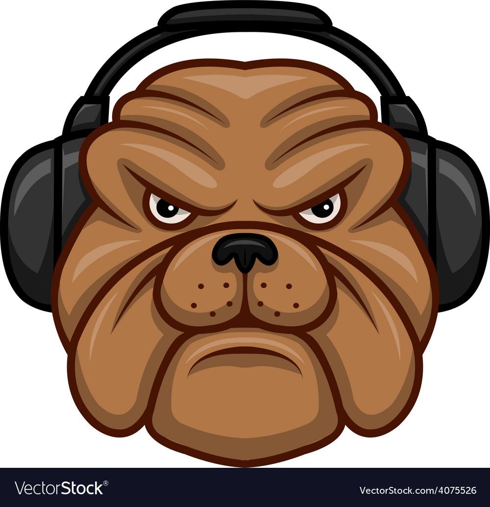Bulldog with headphones vector