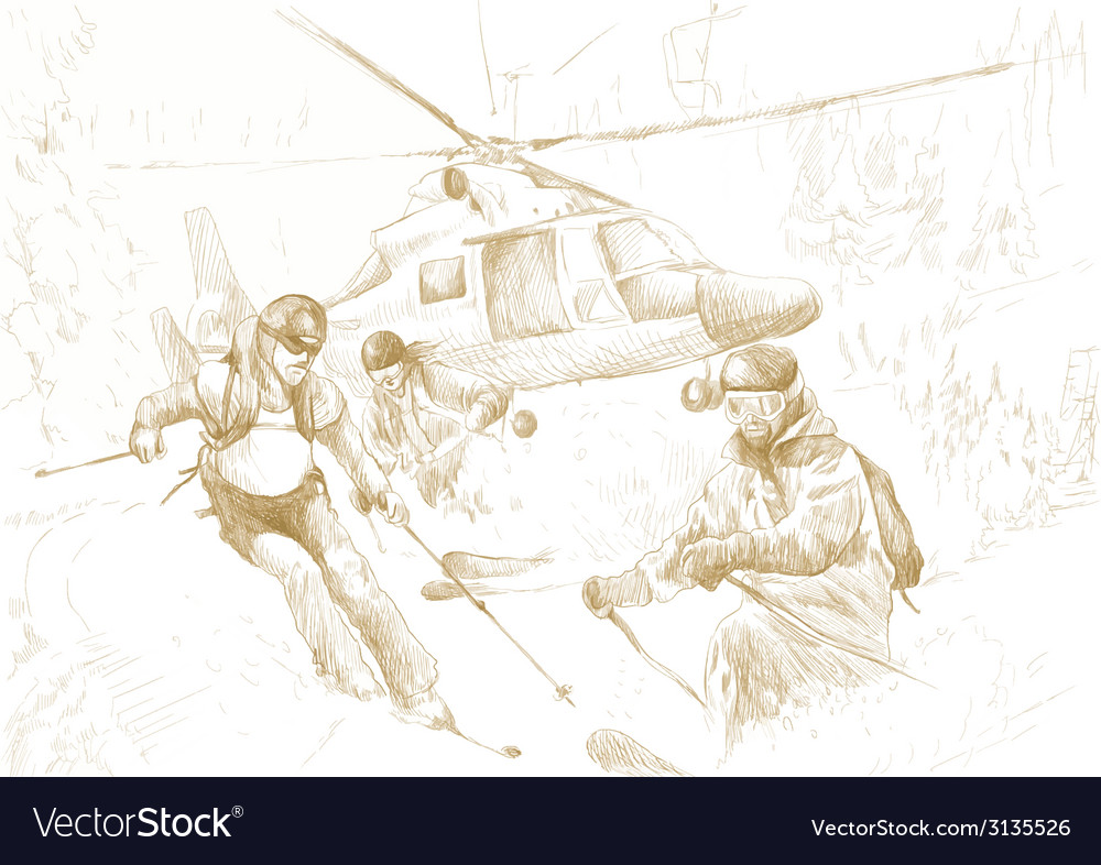 Rescue team skiers vector